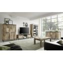 Mango II 156cm black and canyon oak finish TV Unit with LED lights