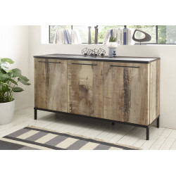 Mango 156cm three doors sideboard in black and canyon oak
