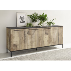 Mango II 207cm sideboard in black and canyon oak finish