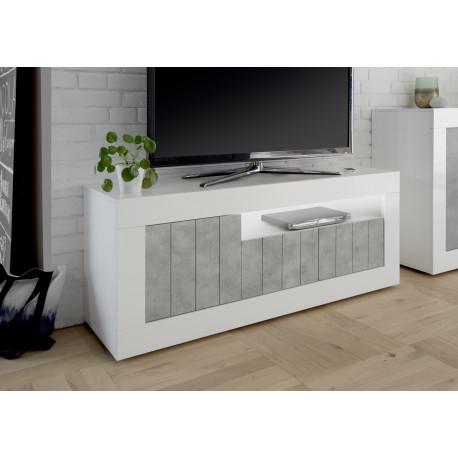 Fiorano 138cm TV unit in white gloss and grey stone finish
