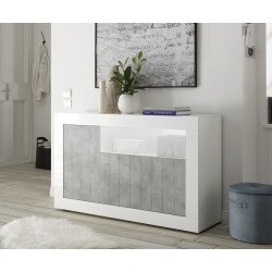 Fiorano 138cm sideboard in white gloss and stone finish