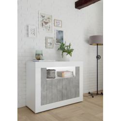 Fiorano 110cm sideboard white gloss and stone finish
