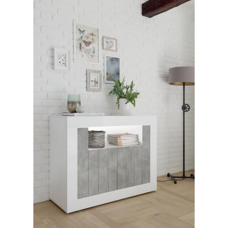 Fiorano 110cm sideboard white gloss and stone finish