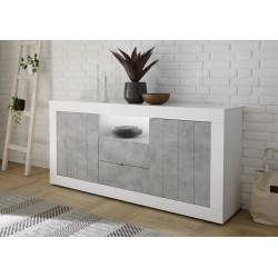 Fiorano 184cm sideboard in white gloss and concrete finish