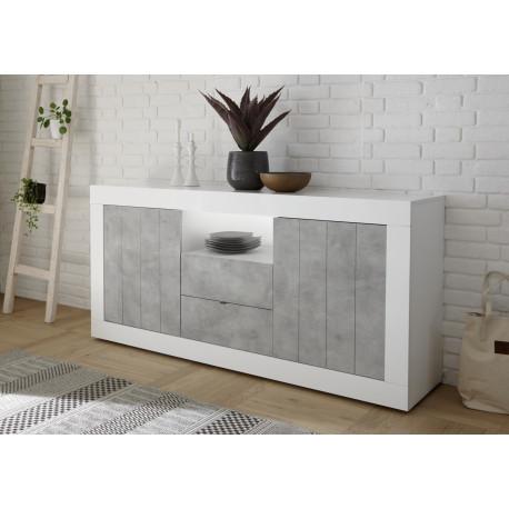 Fiorano 184cm sideboard in white gloss and concrete finish