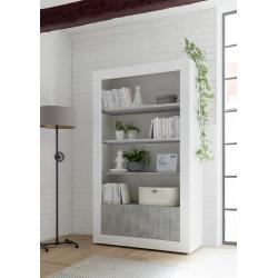 Fiorano bookshelf in white gloss and concrete finish