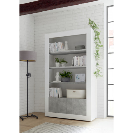 Fiorano bookshelf in white gloss and concrete finish