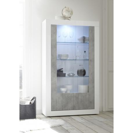 Fiorano display cabinet in white gloss and concrete finish