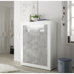 Fiorano 110cm highboard in white gloss and concrete finish