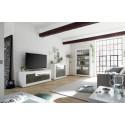 Fiorano 138cm TV unit in white gloss and oxide finish