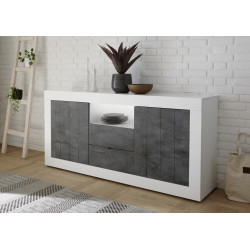 Fiorano 184cm sideboard in white gloss and oxide finish