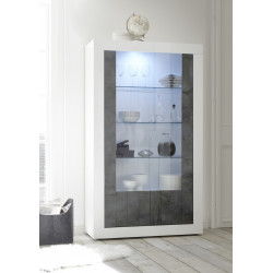 Fiorano display cabinet in white gloss and oxide finish