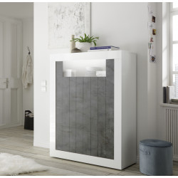 Fiorano 110cm highboard in white gloss and oxide finish