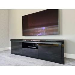 Spirit 180cm black gloss TV stand with led lights
