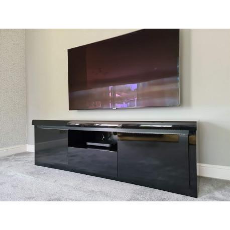 Spirit 160cm black gloss TV stand with led lights