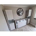 Score II wall unit composition in stone grey and white gloss finish