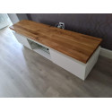 Eris I - tv unit with LED lights and natural OAK top