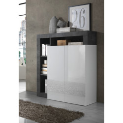 Hamburg 108 cm Highboard in High Gloss and Stone Imitation