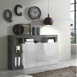 Hamburg 146 cm Sideboard 3 doors in High Gloss and Stone Imitation
