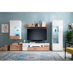Bella LED Wall Unit in White Matt and Oak Finish