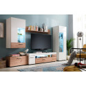 Bella LED Wall Unit in White High Gloss and Oak Finish