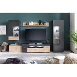 Bella LED Wall Unit in Grey Matt and Oak Finish