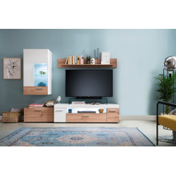 Bella LED Small Wall Unit in White Matt and Oak Finish