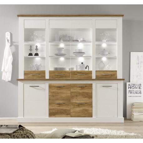 Toronto Classic Display Cabinet Set in White Matt and Pine Finish