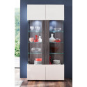Tokyo Display Cabinet in White High Gloss and Smoky Silver Finish