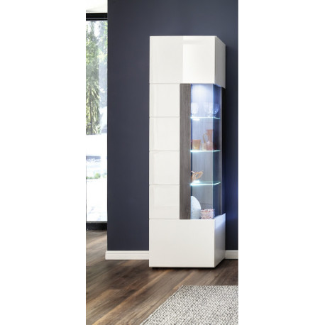 Tokyo Narrow Display Cabinet in White High Gloss