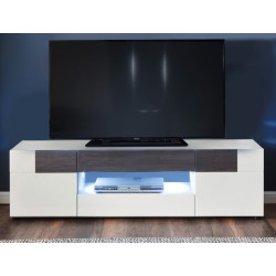 Tokyo TV stand in White High Gloss and Smoky Silver Finish