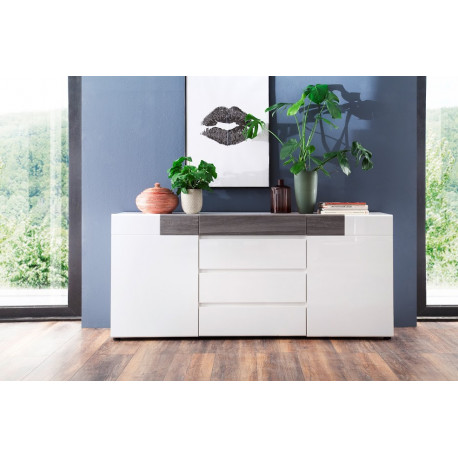 Tokyo Sideboard in White High Gloss and Smoky Silver Finish