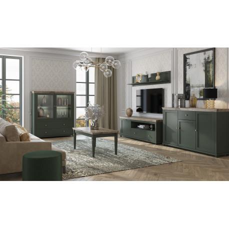 ERA living room Set in Bottle Green and Oak Imitation Top