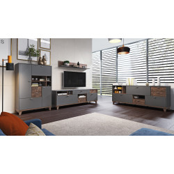 MOVE modern Wall Set in Grey Matt and Nut Imitation Finish
