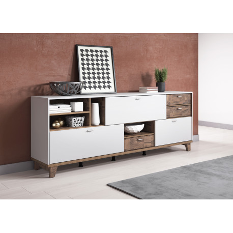 MOVE modern Sideboard in Grey Matt and Nut Wood Finish