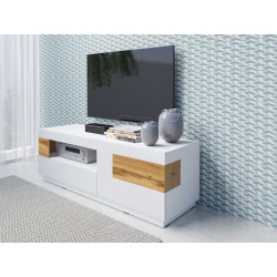 Silke TV stand in White High gloss and Wotan Oak Imitation Finish