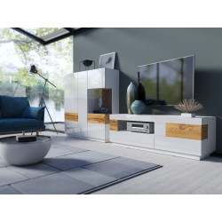 Silke Wall Set Composition in White High Gloss and Wotan Oak Imitation