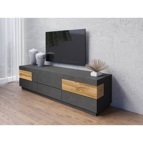 Silke Hanging TV unit in Grey Matera and Wotan Oak Imitation