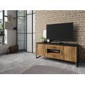 Tarabo small TV stand in Grand Canyon Oak imitation and black matt top