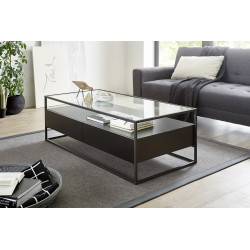 Elio black matt coffee table with steel frame