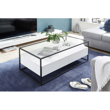 Elio white matt coffee table with steel frame