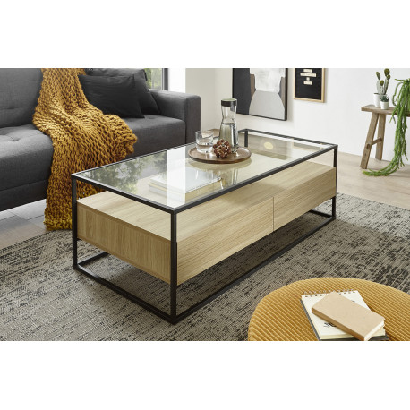Elio oak imitation coffee table with steel frame