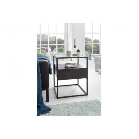 Elio black matt side table with steel frame