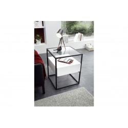 Elio white matt side table with steel frame