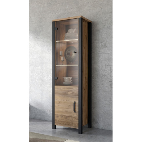 Olin Display Cabinet in Wood Imitation and Black Matt Finish