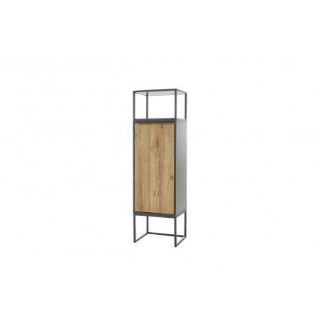 Dakar display cabinet in oak and anthracite lacquer finish