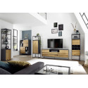 Dakar II display cabinet in oak and anthracite lacquer finish