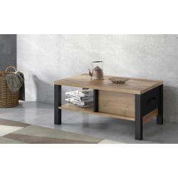 Olin Coffee Table in Wood Imitation and Black Matt finish