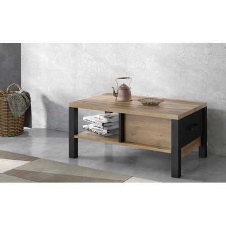 Olin Coffee Table in Wood Imitation and Black Matt finish