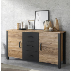Olin Sideboard in Wood Imitation and Black Matt Finish